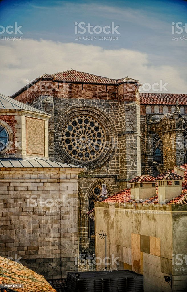 Spanish cathedral and rose Стоковые фото Стоковая фотография
