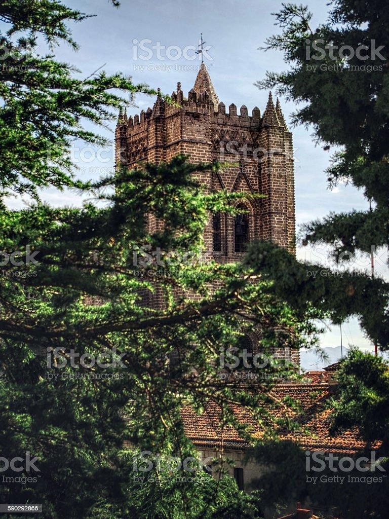 Spanish cathedral tower Стоковые фото Стоковая фотография