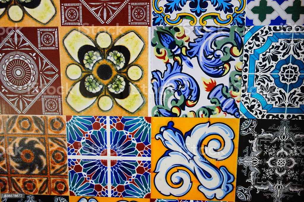 spanish ceramic tile stock photo