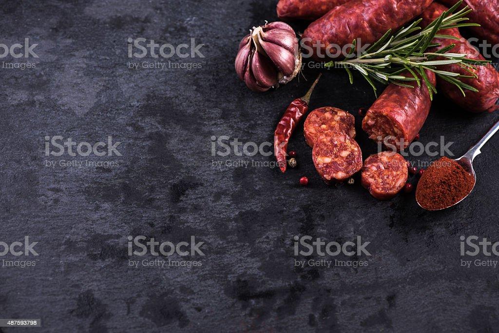 spanish chorizo food background stock photo