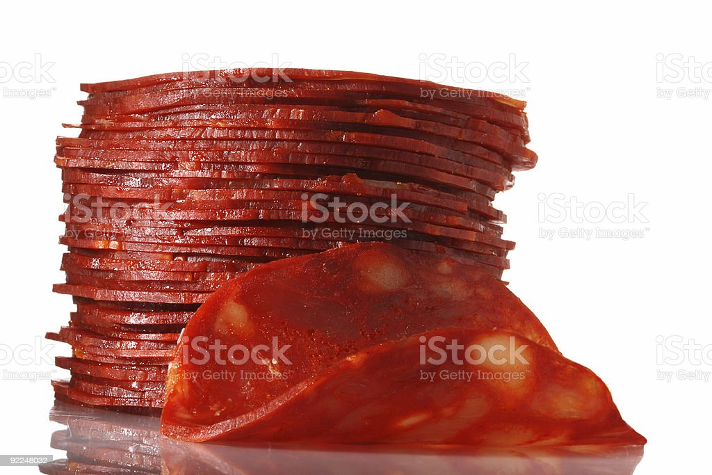 spanish chorizo  salami sausage stacked sliced isolated on white stock photo