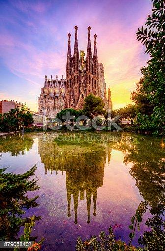 istock Spanish Cities Barcelona la Sagrada familia sunset clouds blue hour flare 879058402