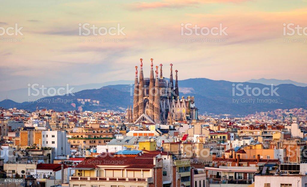 Spanish Cities la sagrada familia barcelona golden hour Church of La Sagrada Familia from Antoni Gaudi at golden hour. Barcelona. Spain Antoni Gaudí Stock Photo