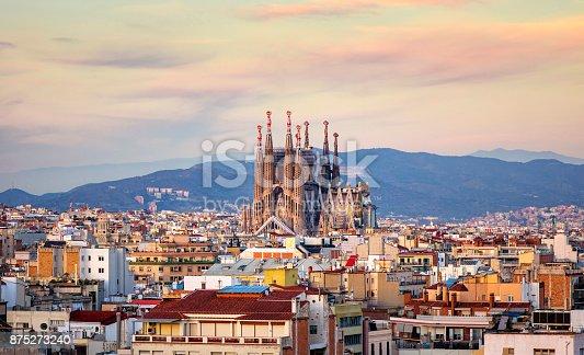 Church of La Sagrada Familia from Antoni Gaudi at golden hour. Barcelona. Spain