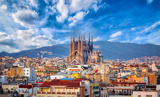Church of La Sagrada Familia from Antoni Gaudi. Barcelona. Spain