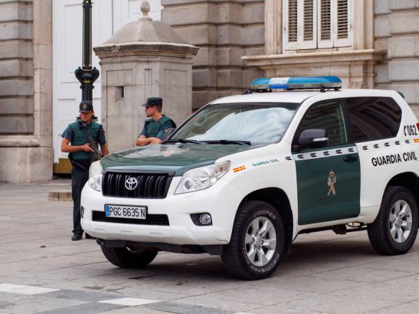 Spanish Civil Guard defend the Royal Palace of Madrid stock photo