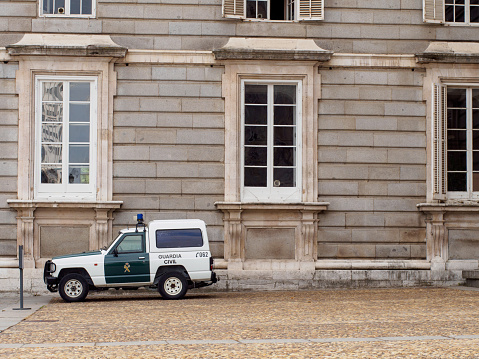 Spanish Civil Guard Vehicle Parked Next To The Royal Palace Of