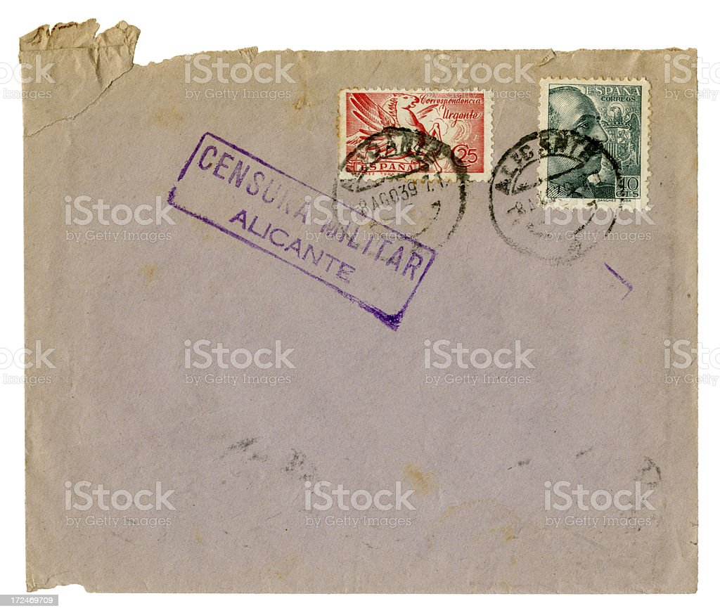 Spanish Civil War envelope, 1939 stock photo