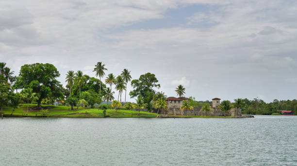 Spanish colonial fort San Felipe, lake Izabal, Guatemala stock photo