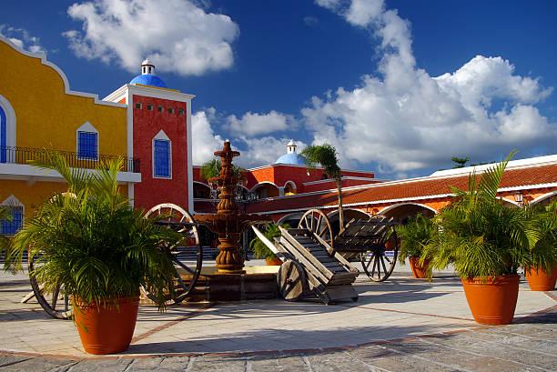 spanish colonial hacienda - playa del carmen stock photos and pictures