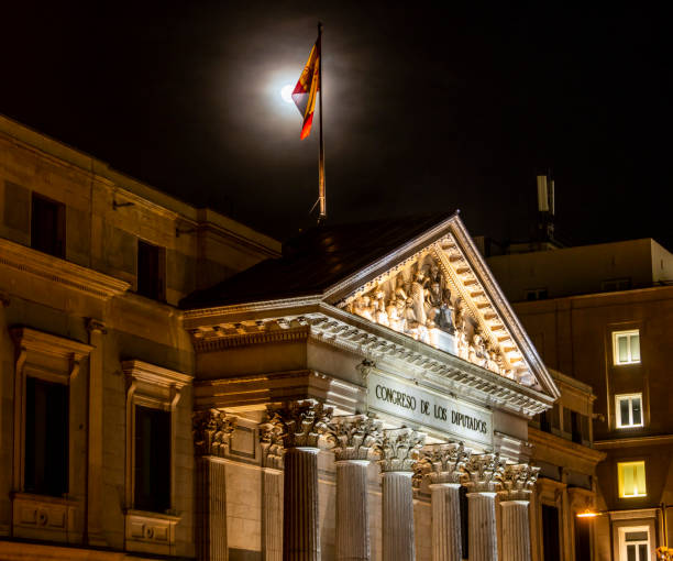 Spanish congress of Deputies in Madrid, Spain at night stock photo