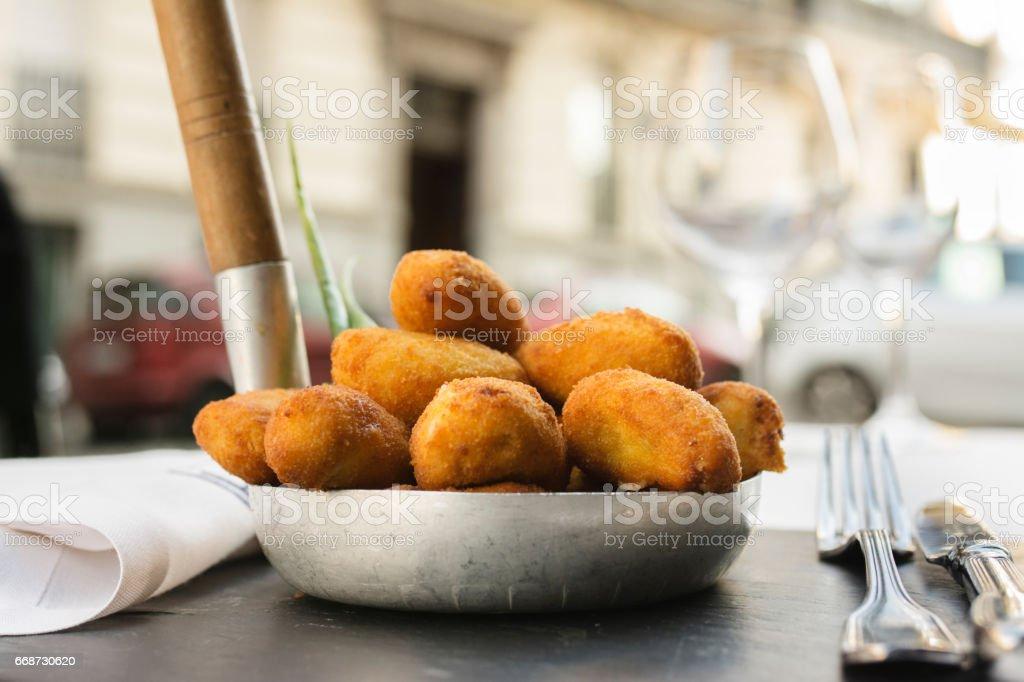 Spanish croquettes, breaded, - foto de acervo