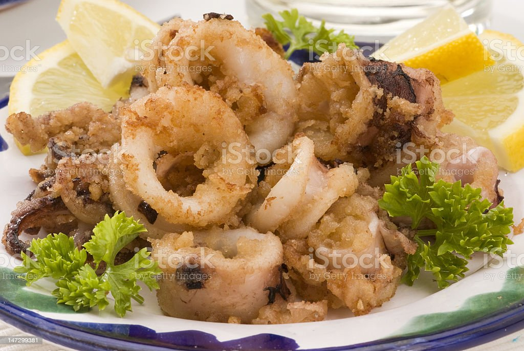 Spanish cuisine. Andalusian deep-fried squids. royalty-free stock photo