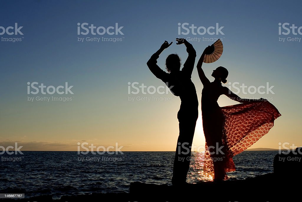 spanish dancers in spain dancing outdoors royalty-free stock photo