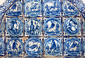 Spanish design of tile for walls of Alcazar, example of historical decoration of 14th century, interior of royal palace, Seville