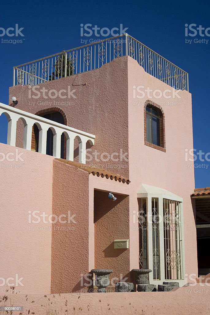 Spanish Design Pink Stucco Home stock photo