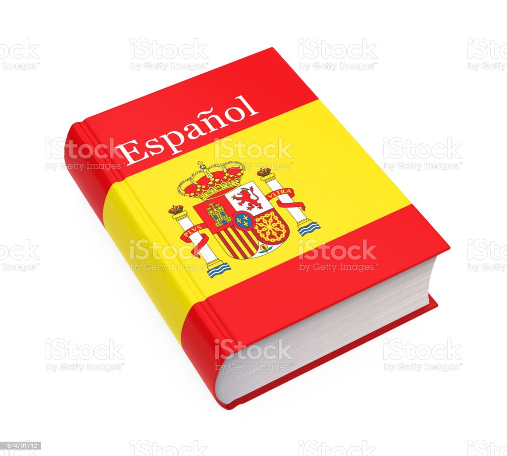 Spanish Dictionary Book Isolated Stock Photo - Download
