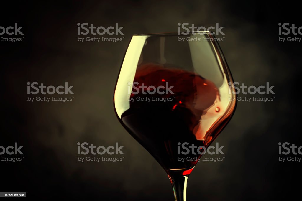 Spanish dry red wine, splash in glass, from the tempranillo grape, gray stone background, defocused in motion image - foto stock