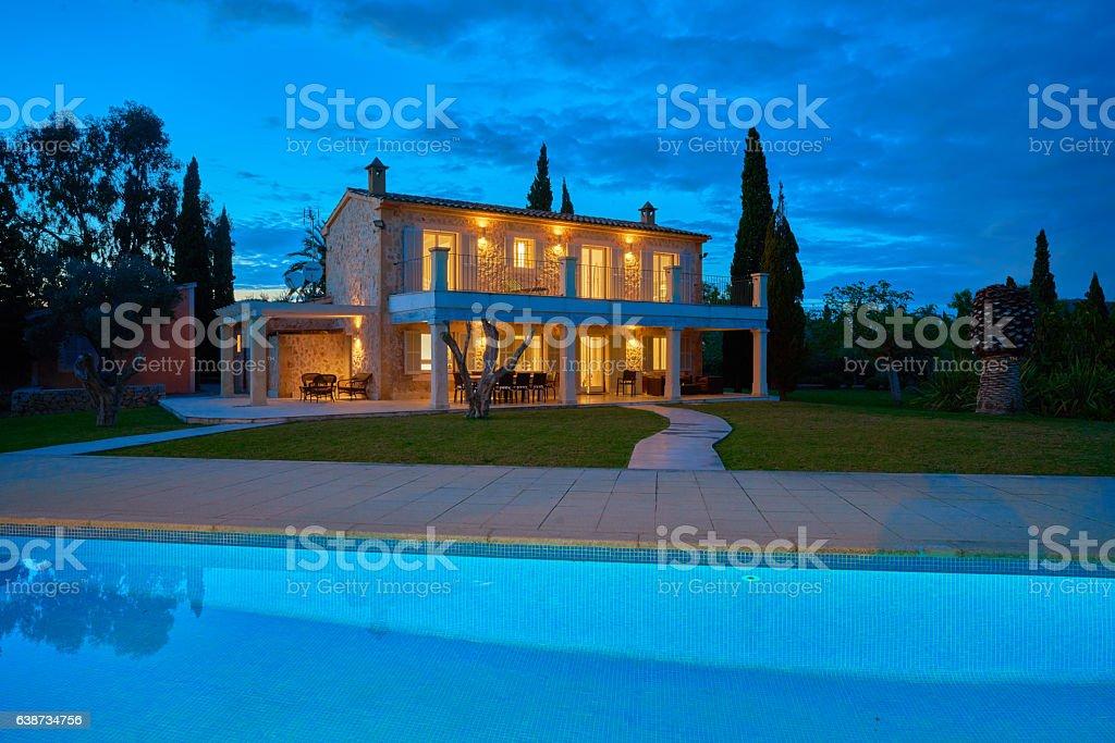 spanish finca house dusk stock photo