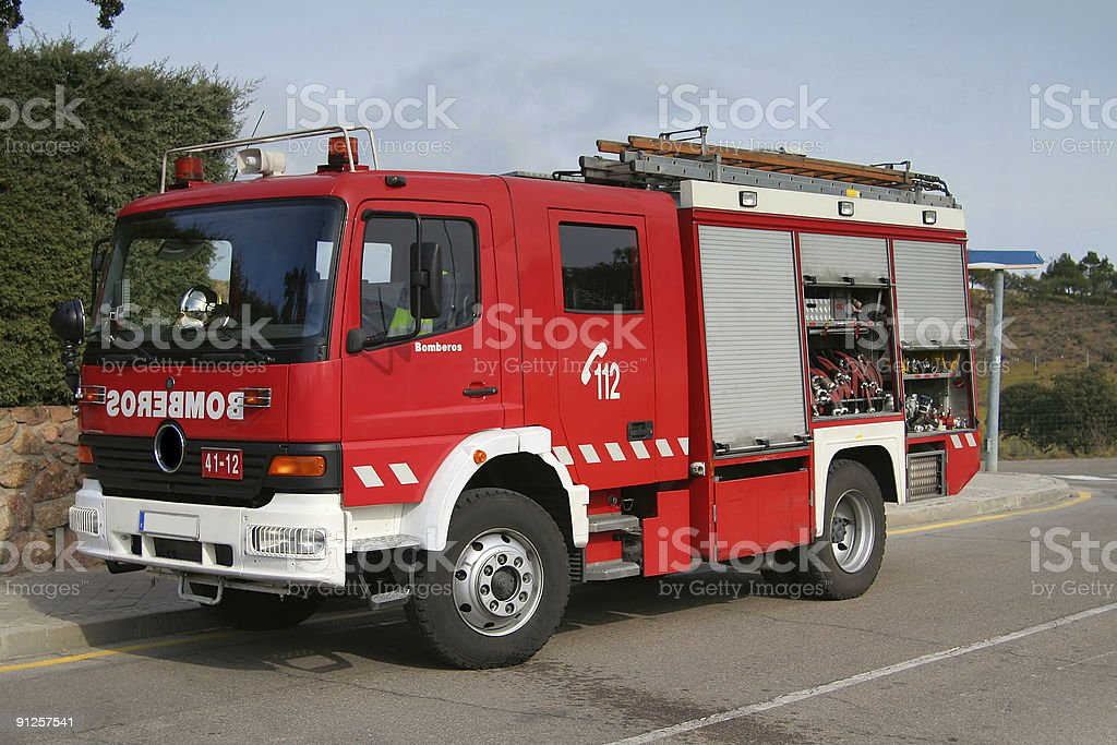 Spanish fire truck royalty-free stock photo