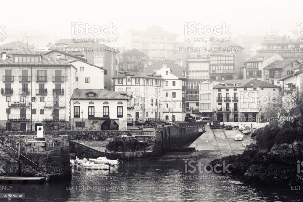 Spanish Fishing Village in the Mist stock photo