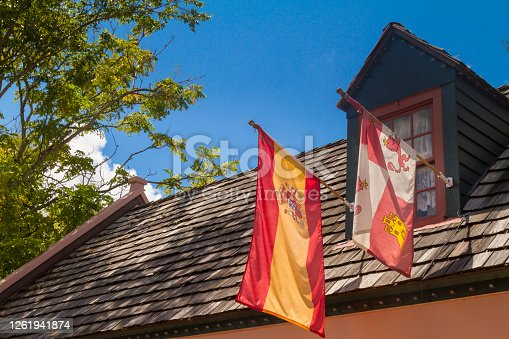 Proudly front balcony displaying flags of colonial countries which founded the city at St Augustine's downtown, Florida, USA. St Augustine is the oldest city in the USA.  St. Augustine is 5 hours driving faraway from Miami, and one hour driving from Orlando, Florida.