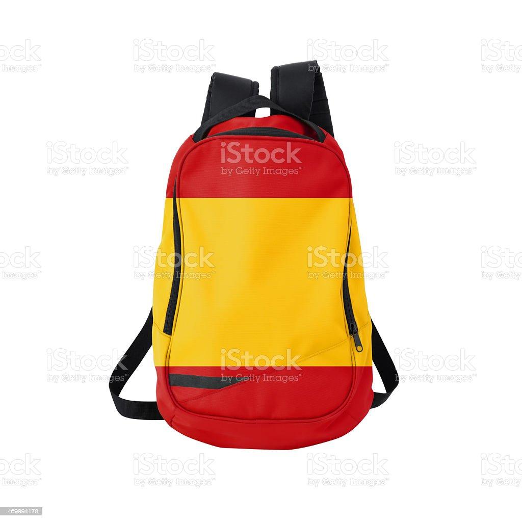 Spanish flag backpack isolated on white w/ path stock photo