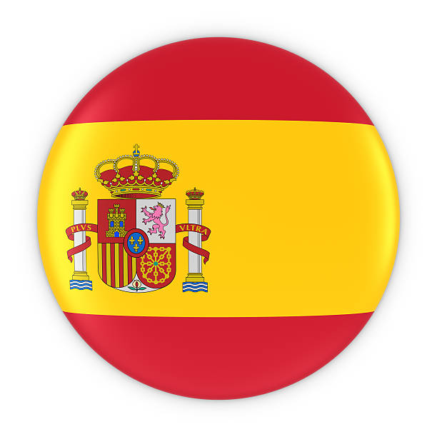 Spanish Flag Button - Flag of Spain Badge 3D Illustration - foto de acervo