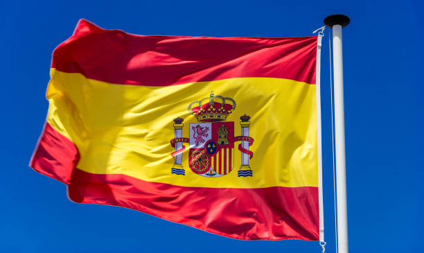 Spanish flag. Reversed stock photo