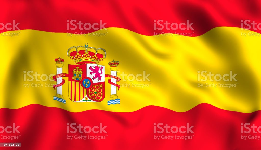 Spanish flag waving in the wind symbol of spain - foto stock