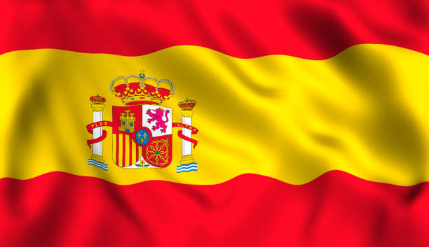 spanish flag waving in the wind symbol of spain - spain stock pictures, royalty-free photos & images