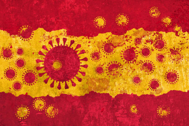 Spanish Flag with coronavirus COVID-19 stock photo