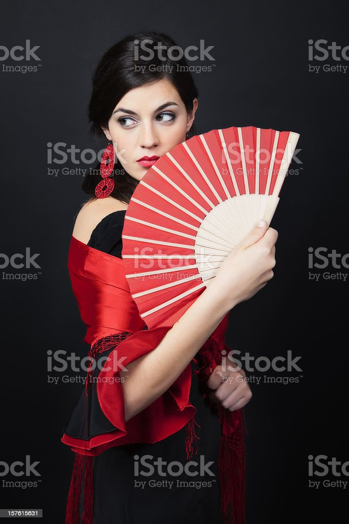 Spanish flamenco looking sideways with a sensual glance stock photo