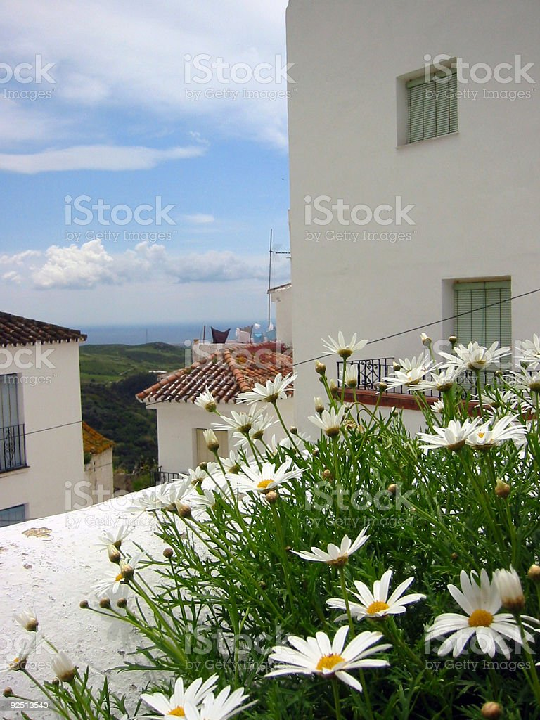 spanish flowers pueblo banco andalucia royalty-free stock photo