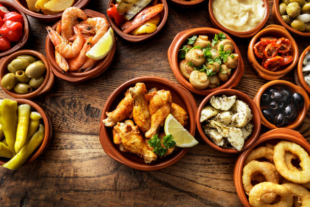 Spanish Food: Tapas Still Life stock photo