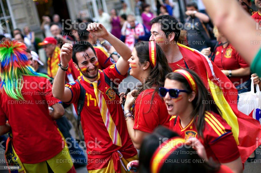 Spanish football fans stock photo