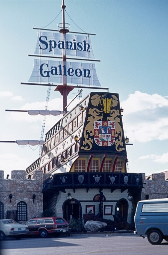 San Antonio, Texas, USA, 1976. Still well known in San Antonio, the former Spanish Gallion Restaurant.