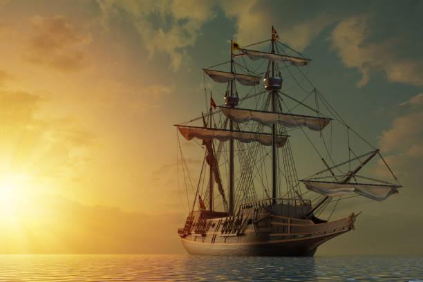 Spanish galleon ship stock photo
