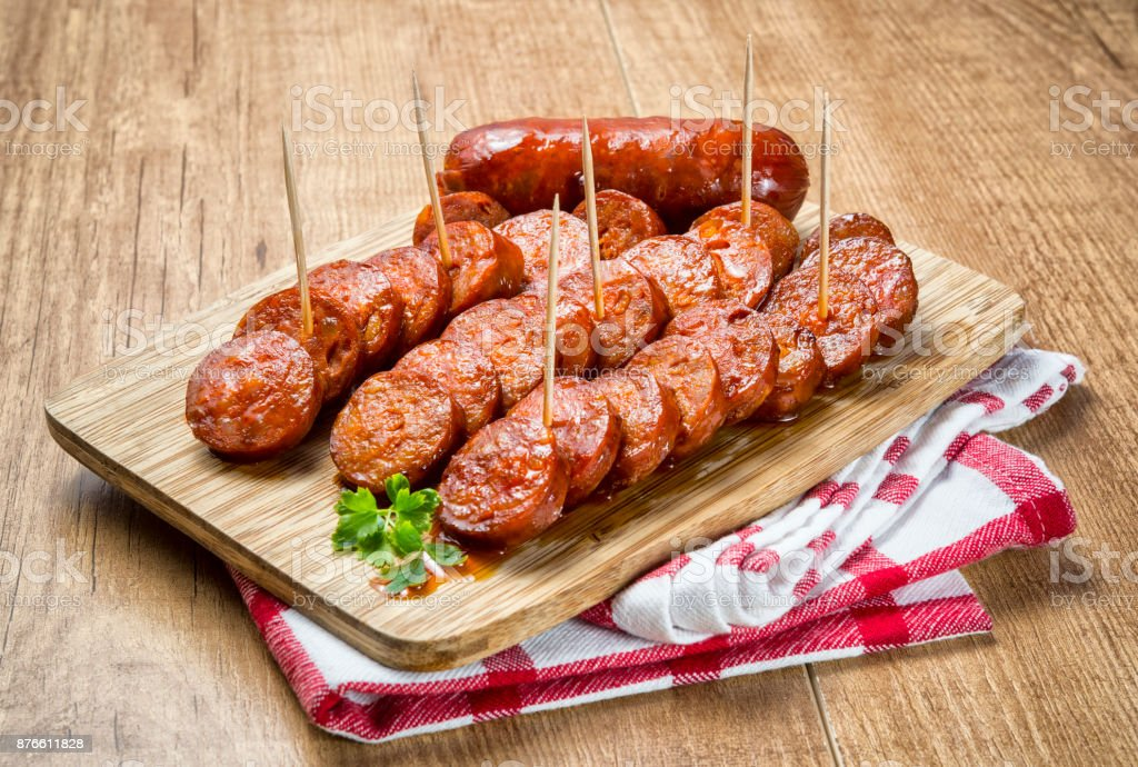 Spanish grilled sausage stock photo