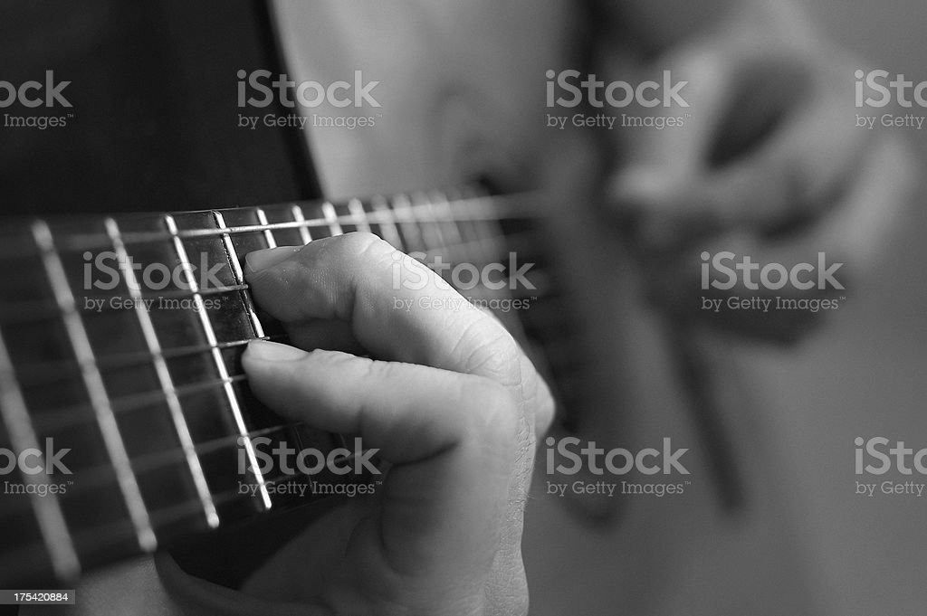 spanish guitar with film grain royalty-free stock photo