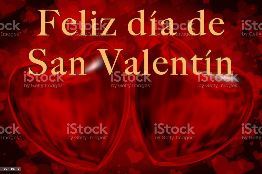 Spanish Happy Valentine's Day phrase, Feliz día de San Valentín in gold 3D letters with two red 3D hearts smaller 2D hearts are on the red coloured background stock photo
