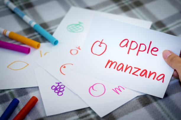spanisch; neue sprache mit früchten namen karteikarten lernen - teppich englisch stock-fotos und bilder