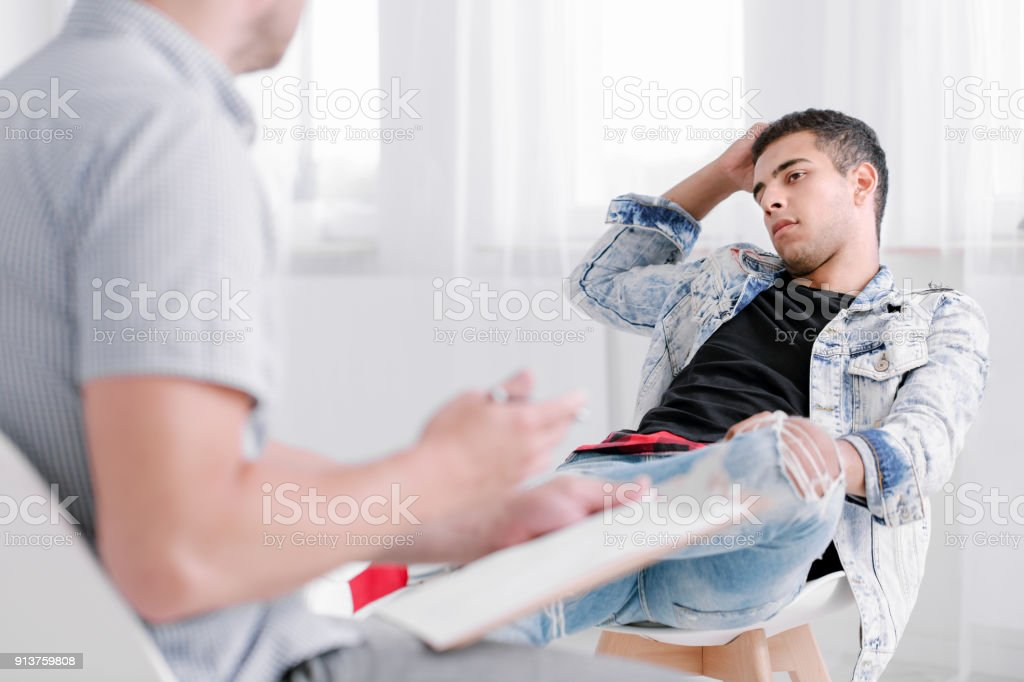 Spanish man during adolescent period stock photo