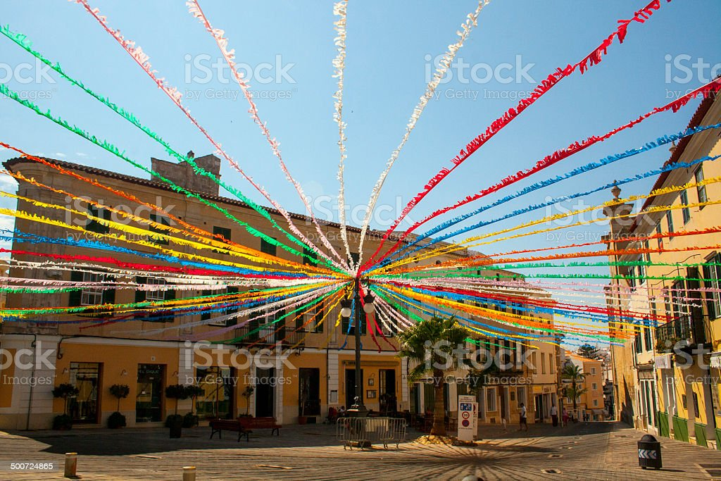 Spanish Marketplace Streamers stock photo