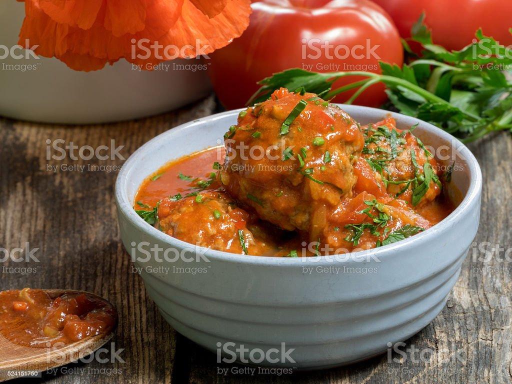 Spanish meatballs with tomato sauce royalty-free stock photo