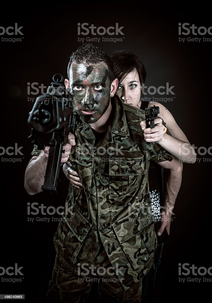 Spanish military and girl stock photo