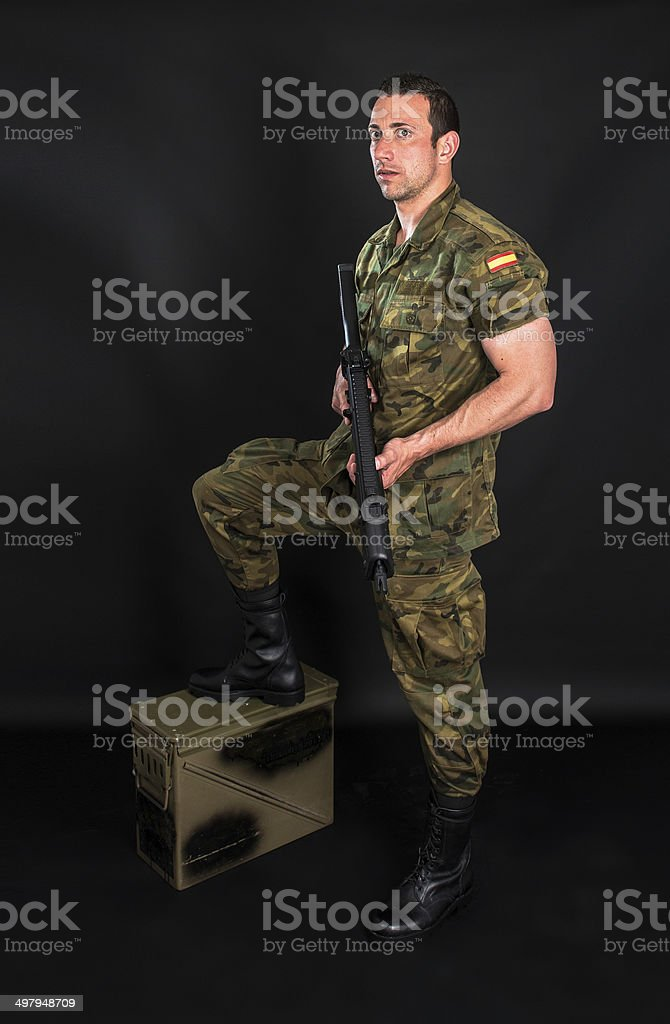 Spanish military on black background stock photo