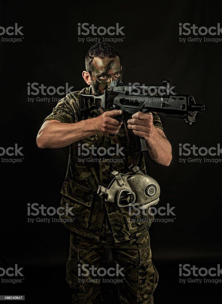 Spanish military with SMG stock photo