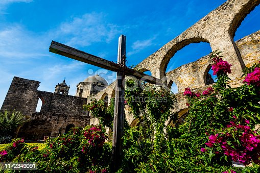 Garden View of the Historic Old West Spanish Mission San Jose, Founded in 1720, San Antonio, Texas.  Part of the National Park System.
