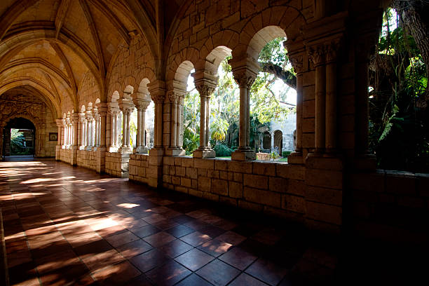 Spanish Monastery Interior image of Monastery of St. Bernard de Clairvaux a spanish Monastery located in Miami Beach.  monastery stock pictures, royalty-free photos & images